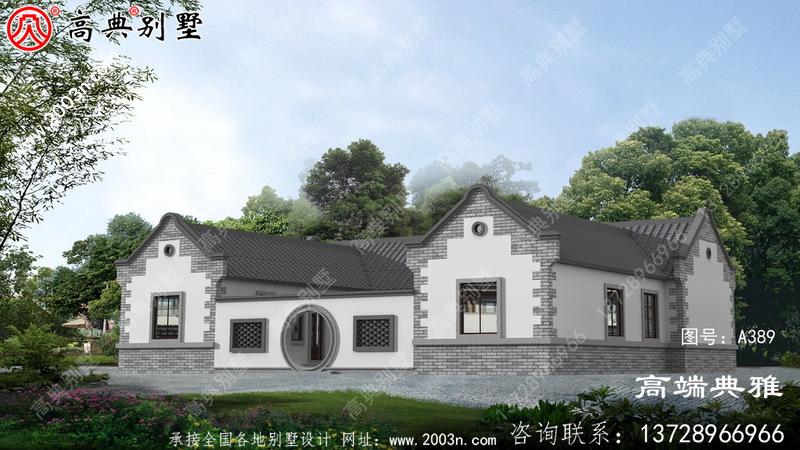 农村现代新型中式三合院的设计图纸和效果图非常漂亮。
