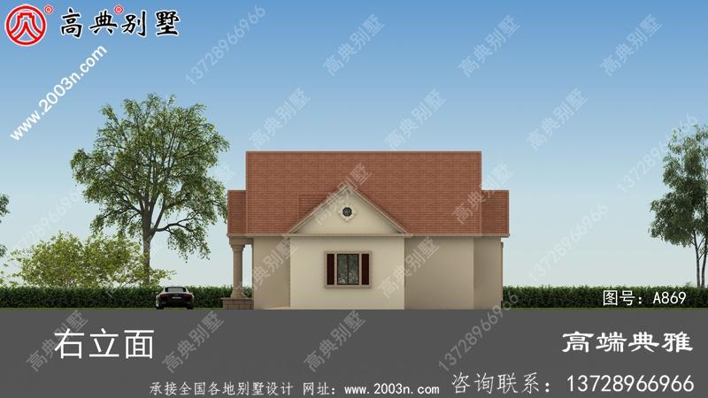 农村盖房设计方案图集一层房屋的设计图,色彩清爽亮丽。