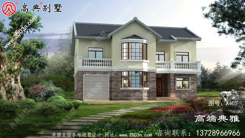 小进深大净宽的二层别墅设计图纸,设在乡村就是说一道景色。