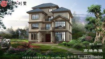 欧式三层半(4层)农村自建别墅设计效果图