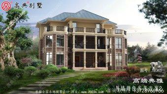 简欧式别墅设计图有外观效果图,三层楼,一楼