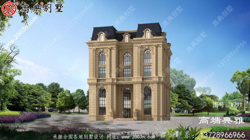 五层法式别墅外墙纯石材,大气高档。