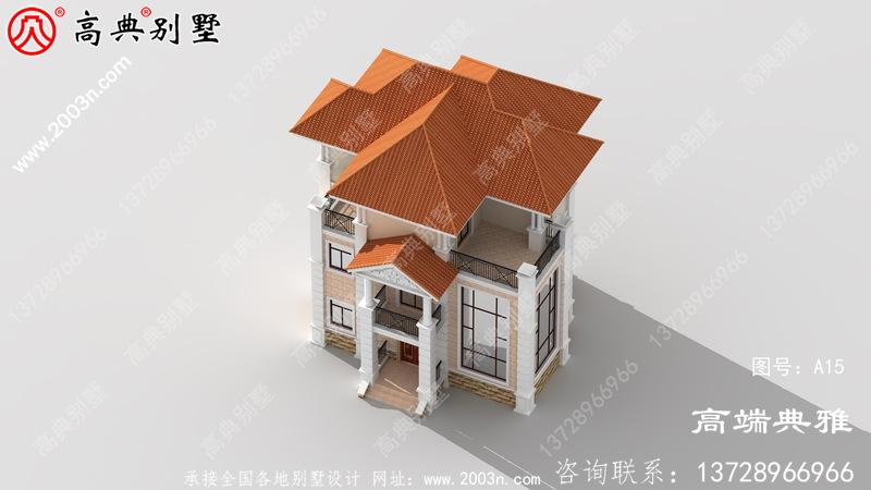 100平方米新农村住宅设计图纸,新中式效果图,3层住宅设计