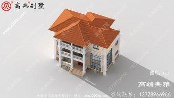 欧式别墅设计纸带效果图,152平方家庭三层别墅