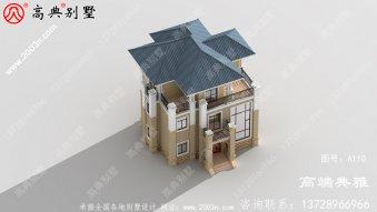 小户型欧式农村自建三层住宅设计建筑图与效果