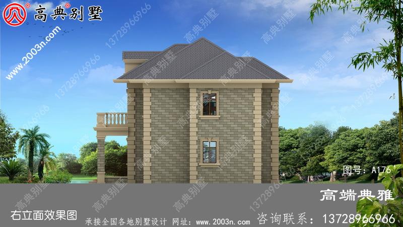 欧洲小型两层别墅效果图,全套Cad别墅设计图纸