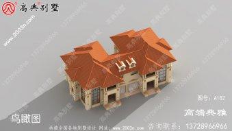 309平方米欧式双拼乡村两层别墅设计纸带外观,