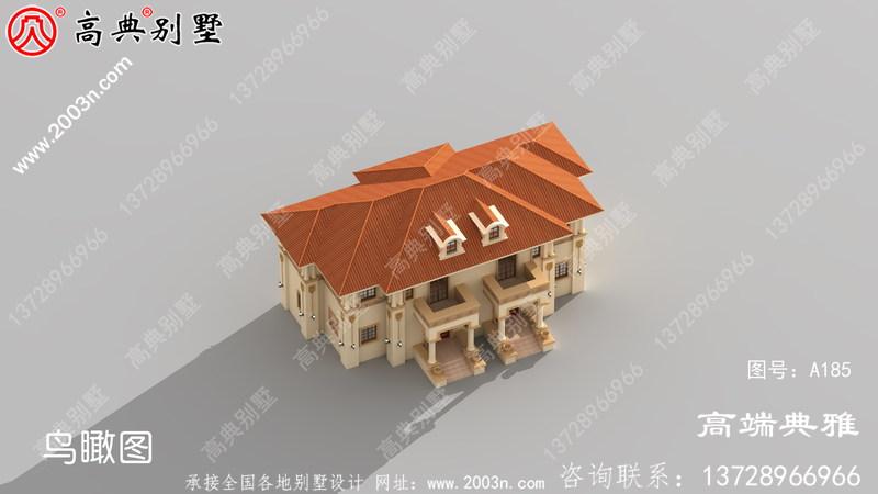 189平米新农村建设好用欧式双拼的二层建筑设计图纸带外型图