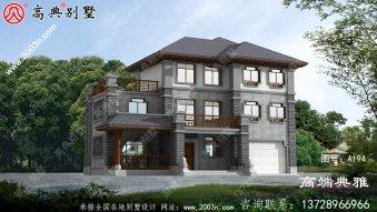 新中式农村三层建筑设计图纸,线条错落有致