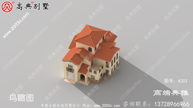 欧式乡村40万自建三层别墅款式图,占地205平方米