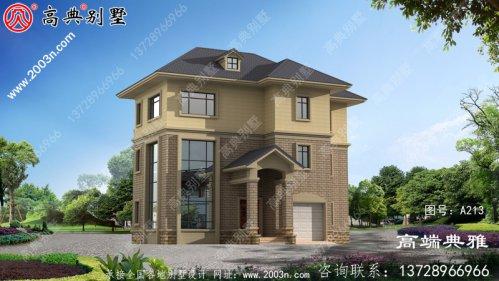 159平方欧式实用三层别墅住宅设计图,包括外观