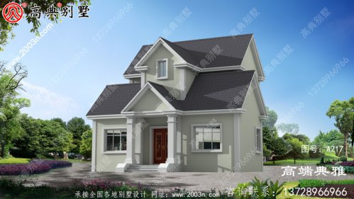 乡村自建独栋两层美式别墅楼房设计图,预算2