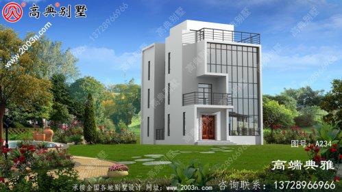 农村114平方米现代别墅设计图,三