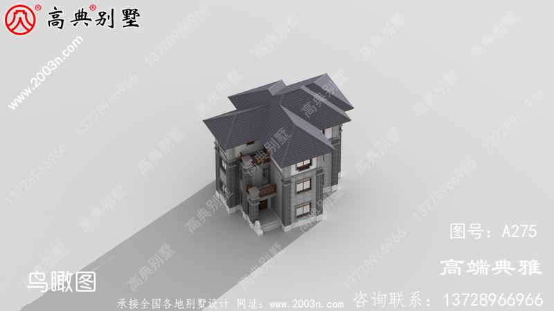 简单大气的中式三层别墅住宅设计图纸,占地面积108平方米