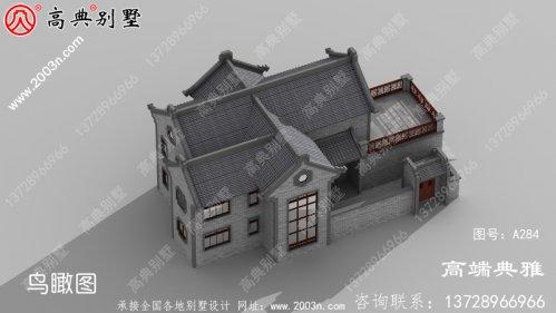 乡村带阳台中式两层别墅设计图纸,占地面积2