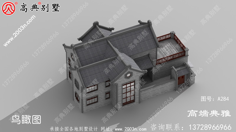 乡村带阳台中式两层别墅设计图纸,占地面积240平米。