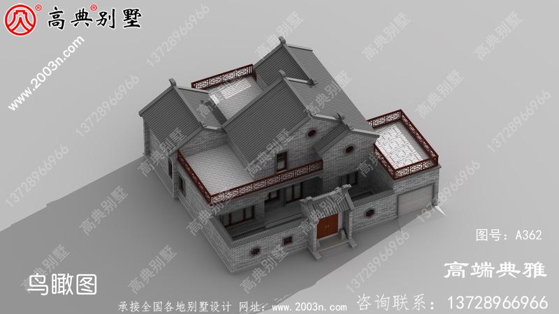 192平方米自建中式二层别墅设计图纸及效果图。