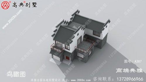 带阳台的新农村中式三层别墅,建