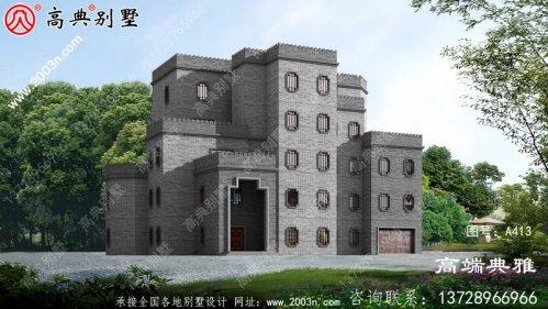 中式城堡风格五层别墅设计图,带车库和大露台