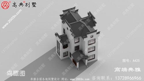 农村自建中式三层别墅设计图,占地123平