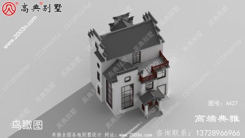 新中式三层别墅设计图,大客厅中空,占地面积