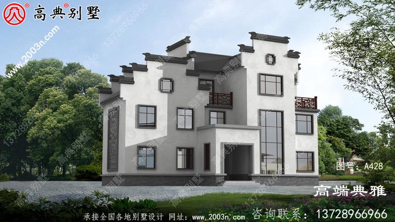 中式三层别墅设计图片及设计图,外观高端、大气