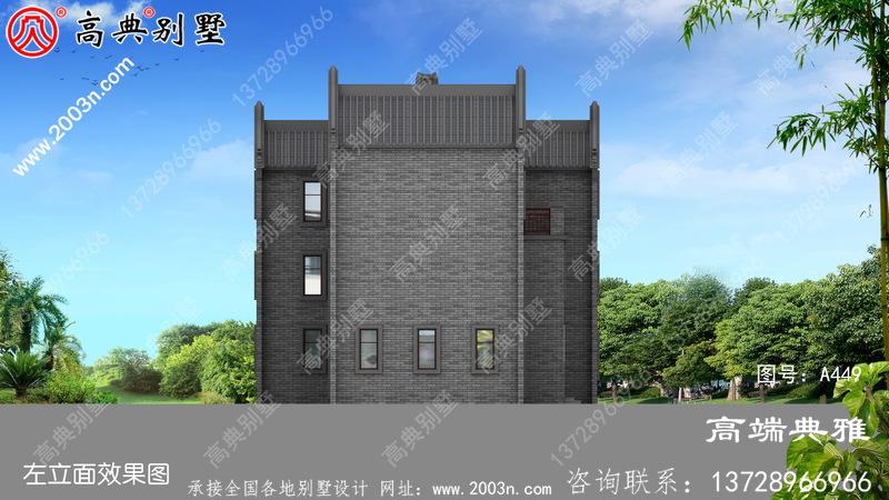 新农村中式三层别墅设计图,户型方正占地171平