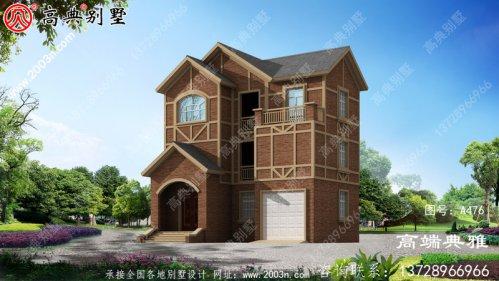 高端农村三层欧式房屋设计图纸,带车库,带露