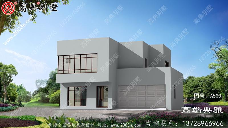 现代两层别墅设计图及外观图片,户型方正适合各种宅地