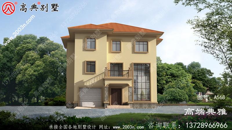 三楼农村自营住宅别墅设计图纸,大厅空洞,外观高级大气