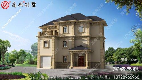 欧式乡村三层别墅设计,占地164平方米,空间利