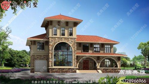 284平米田园风格二层别墅设计图纸,沉稳大气有