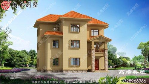 简约乡村三层欧式古典房屋设计图纸,带阳台