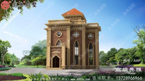 堂屋新农村附三层住宅别墅设计图,外观效果图