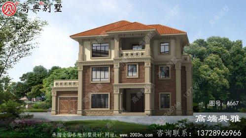 外型高端大气的三层别墅房屋设计