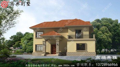 新农村两层带阳台的经济型别墅,包括外观效果