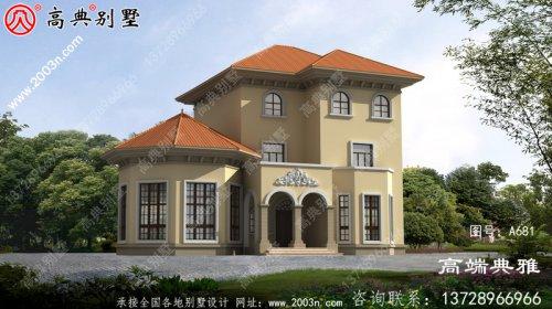 简欧三层别墅设计方案,外观图片大气、精致