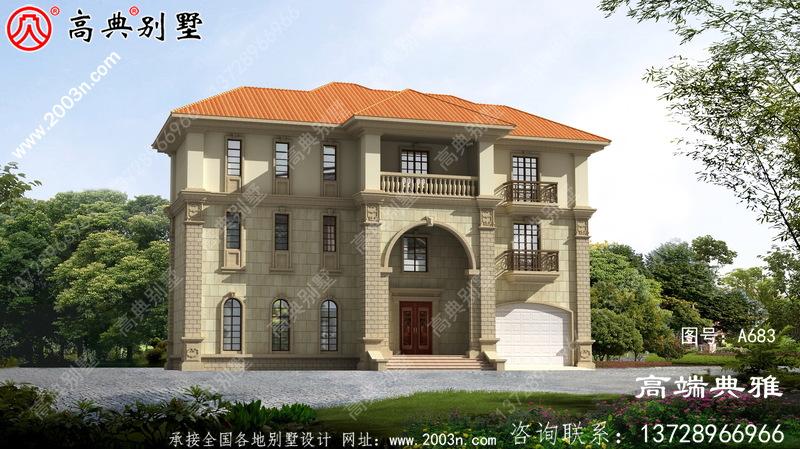 带车库的欧式三层自建房屋自建别墅设计图,布局合理,功能齐全