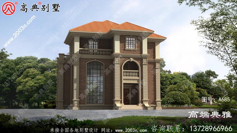 欧式乡村三层别墅设计,客厅中空,空间利用率高。