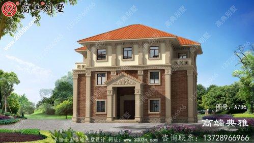 欧式高端豪宅三层别墅自建房设计图,大户型经