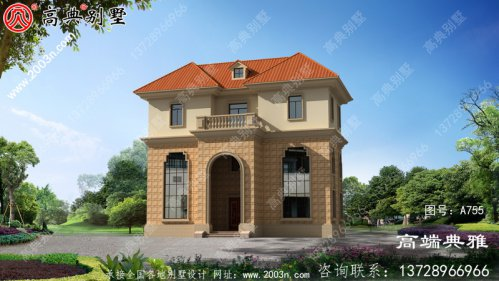 农村欧式三层别墅设计效果图,构