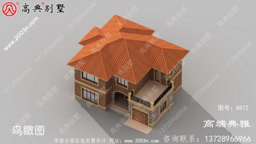 占地154平方米二层农村新款楼房别墅设计图,外