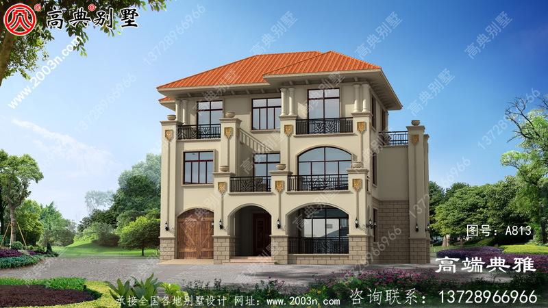 新农村住宅规划建议设计一栋带车库和露台的三层复合建筑。