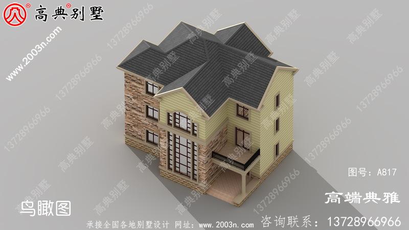 欧式三层别墅设计图,外型美观大方,房型好用