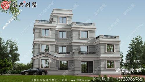 现代三层别墅设计图纸,外观造型大方色彩明亮