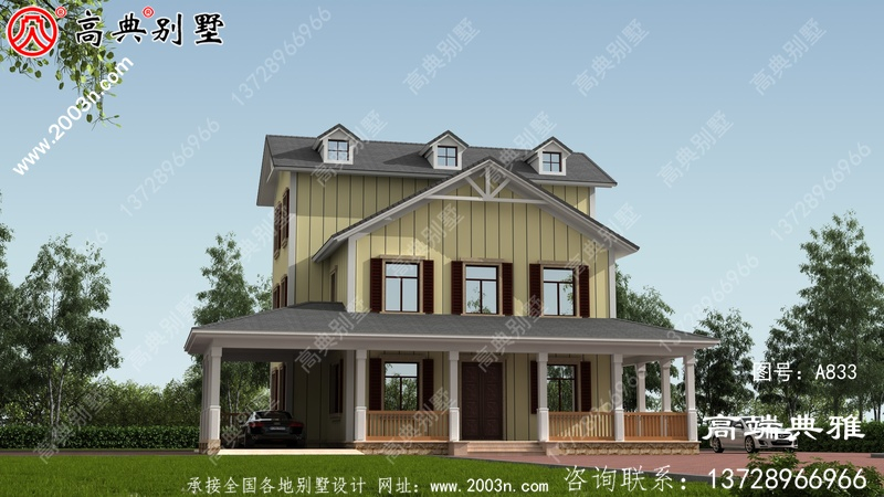 乡村建造三层楼房设计图,带阳台,經典好用