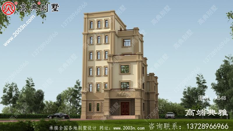 新农村180平方米自建层别墅设计施工图及效果图。