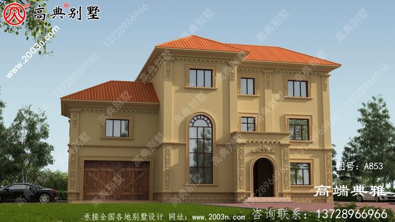 占地197平方大户型豪华三层别墅设计效果图带车库