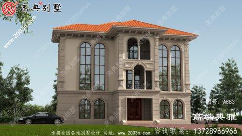 独栋欧式三层别墅设计效果图,双复式大厅落地
