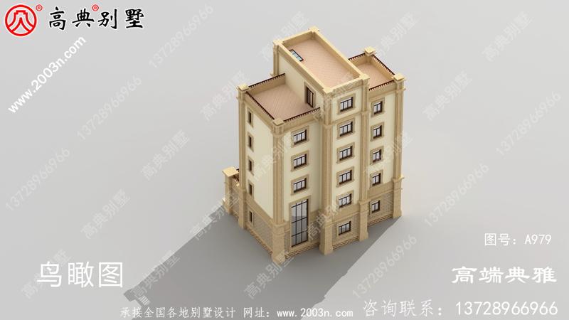 大户型欧式五层半层别墅建筑图纸,全套设计图+效果图